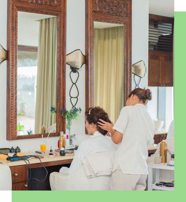Stylist Makeup Artist Doing Hair Dressing